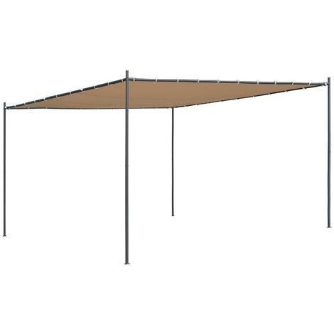 Tonnelle avec toit plat 4x4x2,4 m Beige