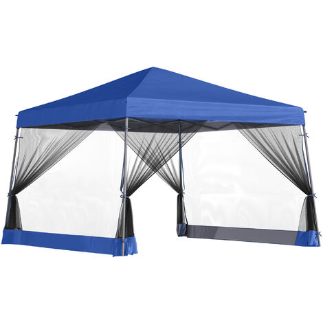 Tonnelle barnum automatique pop-up dim. 3,6L x 3,6l x 2,6H m 4 moustiquaires amovibles 2 zippées bleu