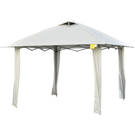 Tonnelle barnum de jardin pop-up pliant 3,35L x 3,35l x 2,80H m acier époxy polyester anti UV crème