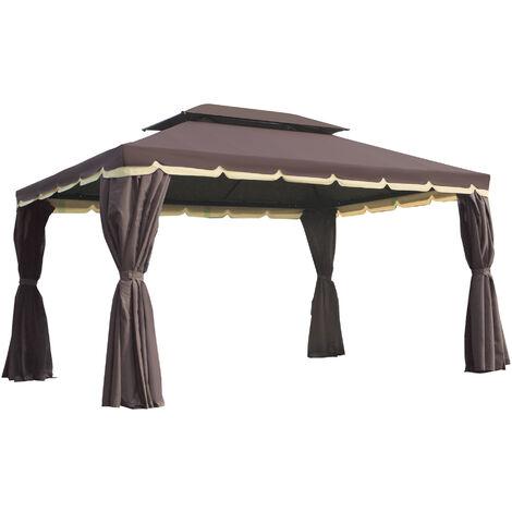 Tonnelle barnum pavillon de jardin style colonial double toit toile moustiquaires et toiles amovibles 3,9L x 2,9l x 2,8H m chocolat