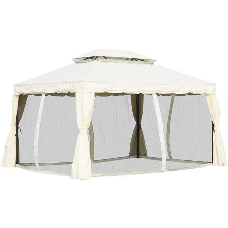 Tonnelle barnum pavillon de jardin style colonial double toit toile moustiquaires et toiles amovibles 3,9L x 2,9l x 2,8H m écru