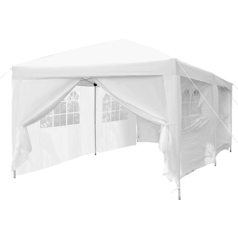 Tonnelle barnum pliant pop-up imperméabilisé 6L x 3l x 2,5H m 6 parois latérales amovibles 4 fenêtres + sac de transport blanc