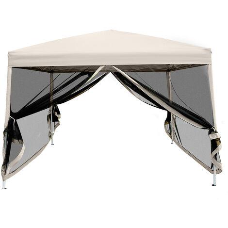 Tonnelle barnum pliant pop-up imperméabilisé style colonial 3L x 3l x 2,55H m 4 moustiquaires + sac de transport beige noir