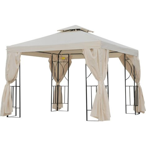 Tonnelle barnum style colonial double toit toiles latérales amovibles