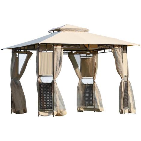 Tonnelle barnum style colonial double toit toiles moustiquaires amovibles 3L x 3l x 2,60H m coloris sable