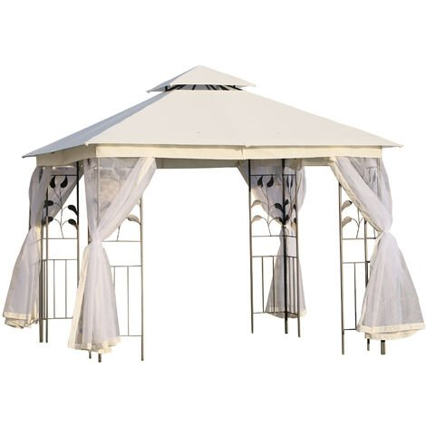 Tonnelle barnum style colonial double toit toiles moustiquaires amovibles 3L x 3l x 2,65H m beige