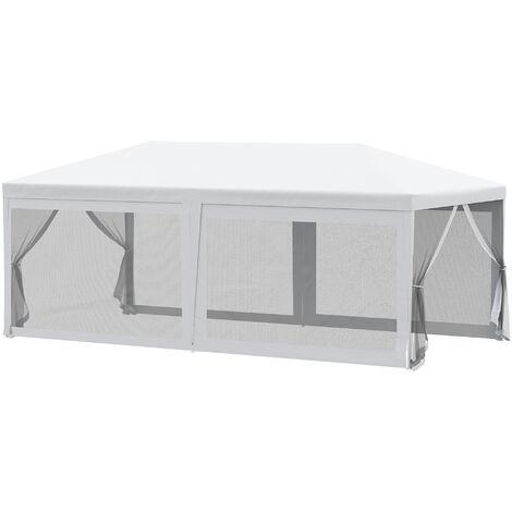 Tonnelle barnum style colonial imperméable 6 x 3 x 2,55 m 6 moustiquaires blanc et noir