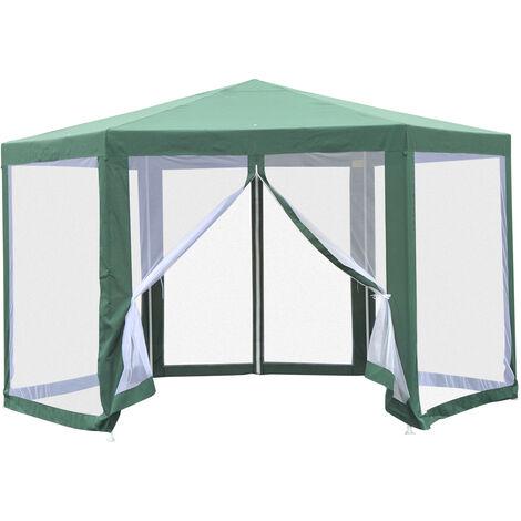 Tonnelle barnum tente de réception hexagonale 10 m² style cosy métal polyester imperméabilisé surface env. 10 m² vert blanc