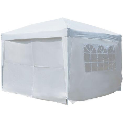 Tonnelle barnum tente de réception pliante 3 x 3 x 2,55 m avec fenêtres + sac de transport blanc