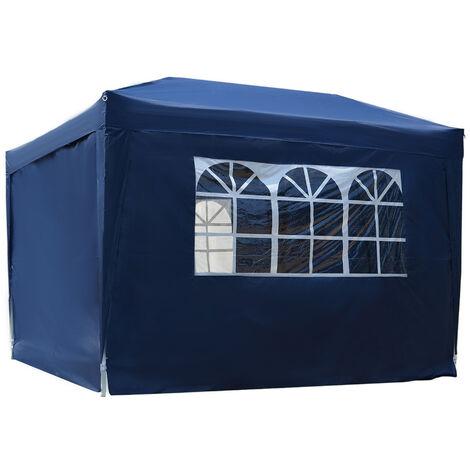 Tonnelle barnum tente de réception pliante 3 x 3 x 2,55 m avec fenêtres + sac de transport bleu