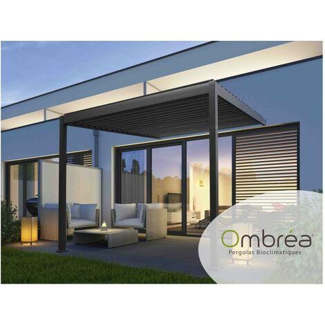 Tonnelle Bioclimatique Ombréa® adossée 3x3,6 m Anthracite