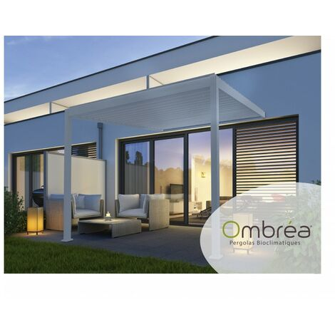 Tonnelle Bioclimatique Ombréa® adossée 3x3,6 m Blanc