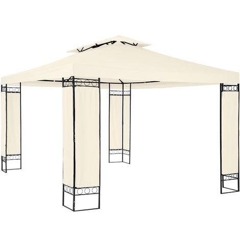 Tonnelle de Jardin 3,9 m x 2,9 m Autoportée Structure en Métal Beige