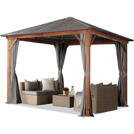 Tonnelle de jardin 3x3 m design en optique bois toit en acier 4 parois latérales, gris