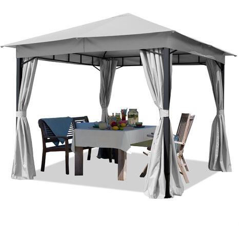 Tonnelle de Jardin 3x3 m env. env. 180g/m² pavillon avec bâche de Toit imperméable Tente de Jardin avec 4 bâches de côté Gris Clair Tente de réception env. 6x6 cm Profil