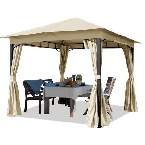 Tonnelle de jardin 3x3 m pavillon, bâche de toit env. 180g/m² tente de jardin champagne