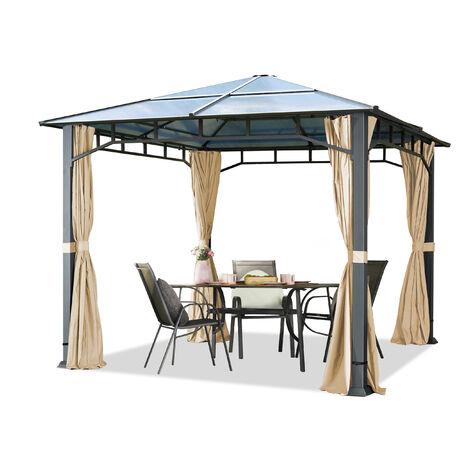 Tonnelle de Jardin 3x3 m Structure en Aluminium Toit Polycarbonate épaisseur env. 8 mm pavillon de Jardin champagne