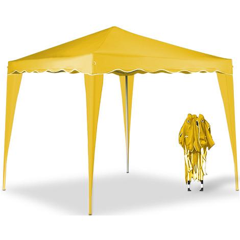 Tonnelle de jardin 3x3m - Tente de reception Jaune- Pavillon de jardin - pliable