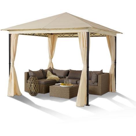 Tonnelle de jardin 3x3m Vintage structure en acier toit avec jupe pavillon de jardin imperméable d'une épaisseur 180g/m², 4 parois latérales incluses