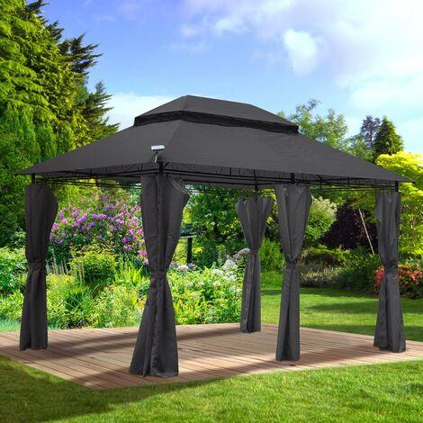Tonnelle de Jardin 3x4 2,65H anthracite LED très stable imperméable, 100% acier revêtu de PA - Tonnelle Easyness 3x4m - Pavillon de Brast