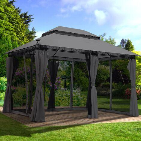 Tonnelle de Jardin 3x4 2,65H anthracite, moustiquaire, LEDs, très stable, imperméable, 100% acier revêtu de PA - Tonnelle Easyness 3x4m - Pavillon de Brast