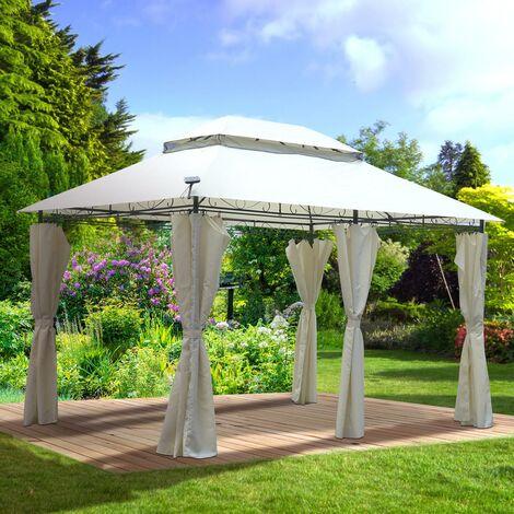 Tonnelle de jardin 3x4 2,65H beige, LED, très stable imperméable, 100% acier revêtu de PA - Tonnelle Easyness 3x4m - Pavillon de Brast