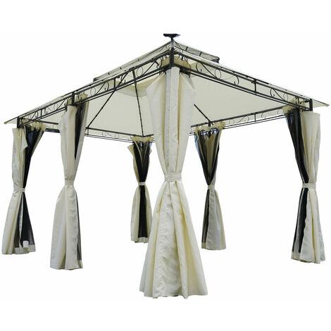 Tonnelle de Jardin 3x4 2,65H, beige, moustiquaire, LEDs, très stable, imperméable, 100% acier revêtu de PA - Tonnelle Easyness 3x4m - Pavillon de Brast