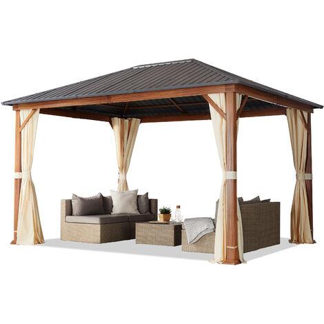 Tonnelle de jardin 3x4 m design en optique bois toit en acier 4 parois latérales, champagne