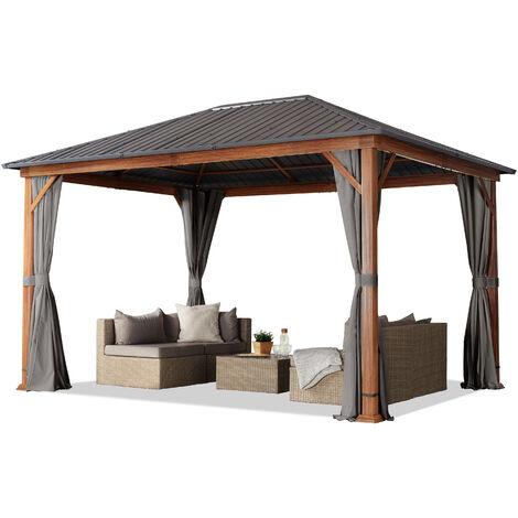 Tonnelle de jardin 3x4 m design en optique bois toit en acier 4 parois latérales, gris