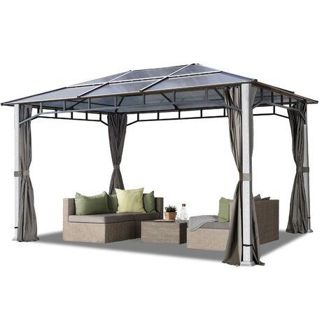 Tonnelle de jardin 3x4 m design en optique bois toit en polycarbonate env. 8 mm, 4 parois latérales gris