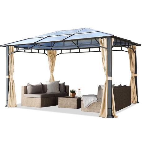 Tonnelle de jardin 3x4 m structure Aluminium toit polycarbonate épaisseur env. 8 mm pavillon de jardin 4 rideaux couleur champagne inclus
