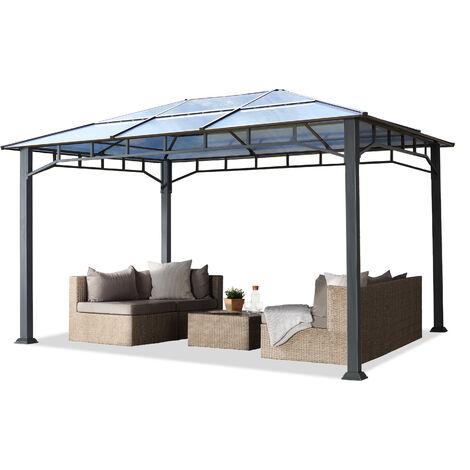 Tonnelle de jardin 3x4m structure en Aluminium toit polycarbonate épaisseur 8mm pavillon de jardin rideaux non inclus