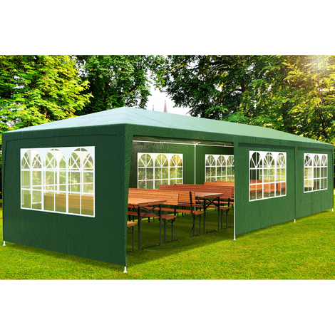 Tonnelle de jardin 3x9cm vert - Pavillon 27m² avec fenêtre Barnum Tente