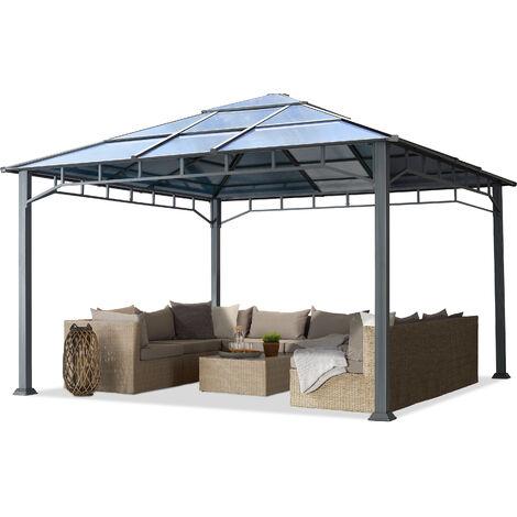 Tonnelle de Jardin 4x4 m Structure en Aluminium Toit Polycarbonate épaisseur env. 8 mm pavillon de Jardin Rideaux Non Inclus