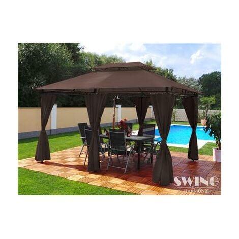Tonnelle de jardin à rideaux Swing & Harmonie® 3x4 chocolat