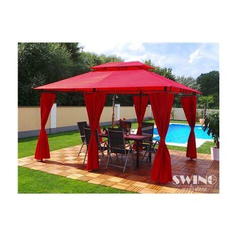 Tonnelle de jardin à rideaux Swing & Harmonie® 3x4 m bordeaux