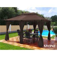 Tonnelle de jardin à rideaux Swing & Harmonie® 3x4 m chocolat