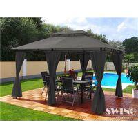 Tonnelle de jardin à rideaux Swing & Harmonie® 3x4 m grise