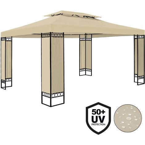 Tonnelle de jardin ELDA - 3 x 4 m - Pavillon - Crème - 991985