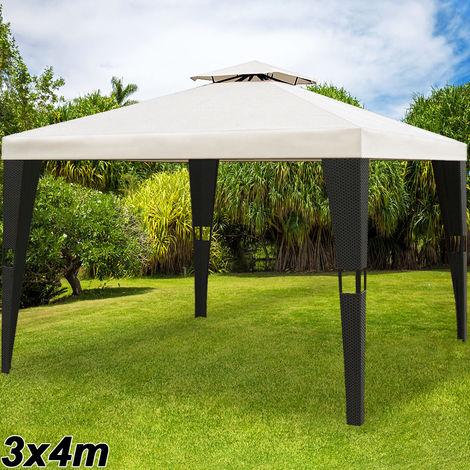 Tonnelle de jardin en polyrotin 3x4 m - Pavillon Tente de réception Pergola
