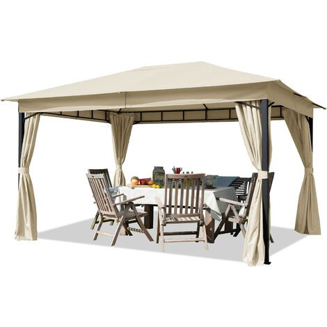 Tonnelle de jardin env. 3x4m pavillon, bâche de toit env. 180g/m² tente de jardin champagne
