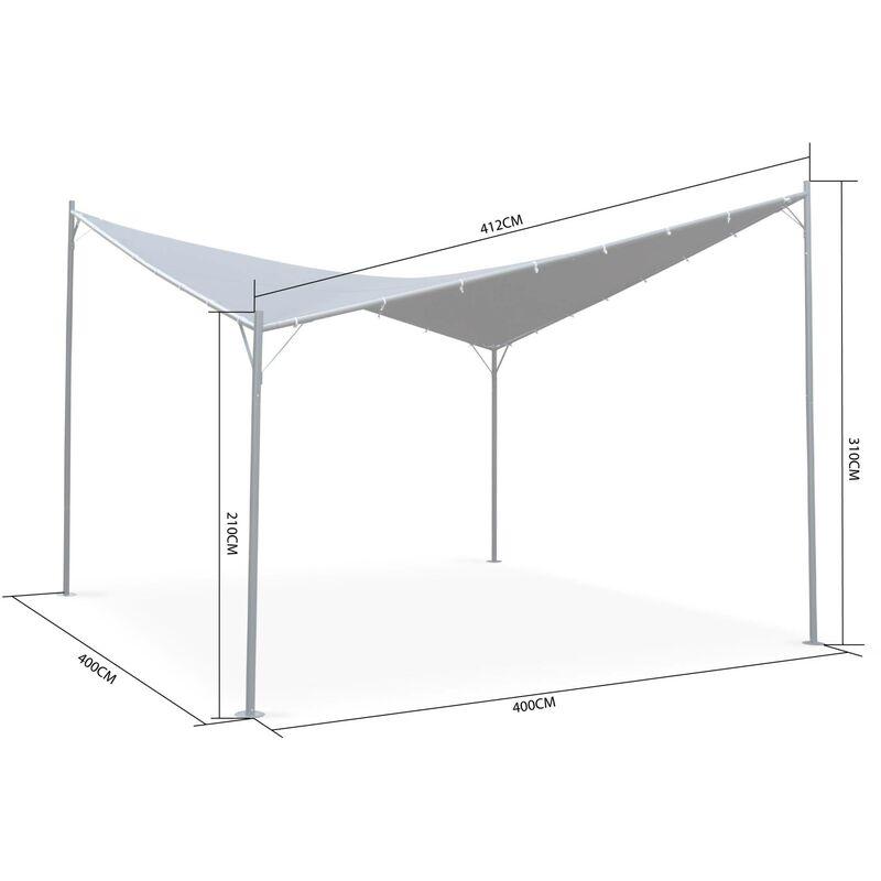 Tonnelle de jardin forme papillon - BELNA 4x4m - toile grise, pergola  asymétrique design
