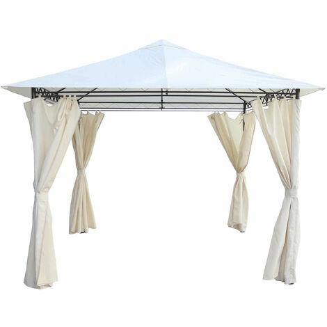 Tonnelle de Jardin Gazebo Tente pour Extérieur Acier Chillvert Milos 295x295x250 cm Rideaux Beige