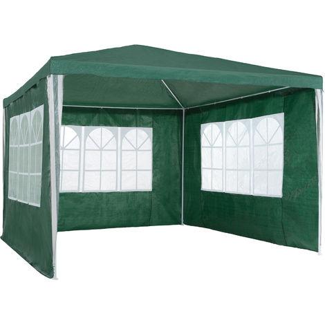 Tonnelle de jardin Autoportante 3 m x 3 m avec 3 Rideaux amovibles Structure en Métal Vert