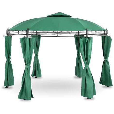 Tonnelle De Jardin Pergola Ronde Tente Pavillon Réception Imperméable Vert 3,5m