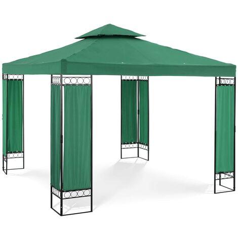 Tonnelle De Jardin Pergola Tente Pavillon Réception Imperméable Fer Vert 3x3m