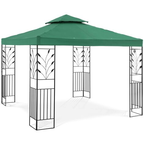 Tonnelle De Jardin Pergola Tente Pavillon Réception Toile Imperméable Vert 3x3m