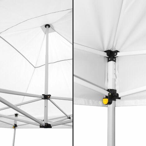 Tonnelle de Jardin Pliable 3x3 m 520D (320g/m2) + 4 Paroies Blanches - Tonnelle Barnum Pliant et avec 4 Murs en Toile - Tente Pagode Pliable Imperméable Idéale pour Reception en Exterieur - Blanc