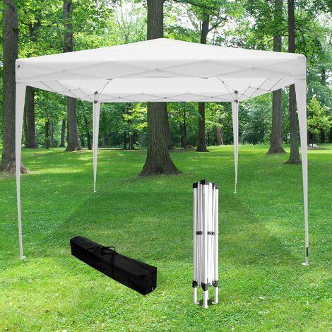 Tonnelle de Jardin Pliante 3x3 m Blanche - Tonnelle Barnum Pliant Toile 210D (160g/M2) - Tente Pliable Idéale pour Reception en Exterieur - Blanc