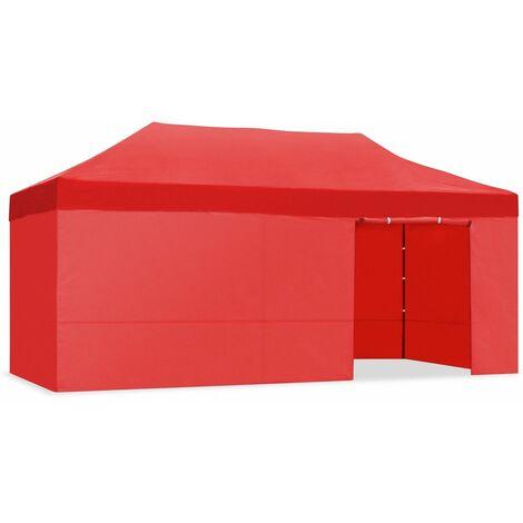 Tente pliante 3x3m impermeable pliage facile couleur Rouge Gazebo -McHaus